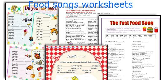 Food songs worksheets