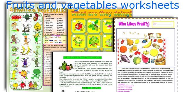 Fruits and vegetables worksheets