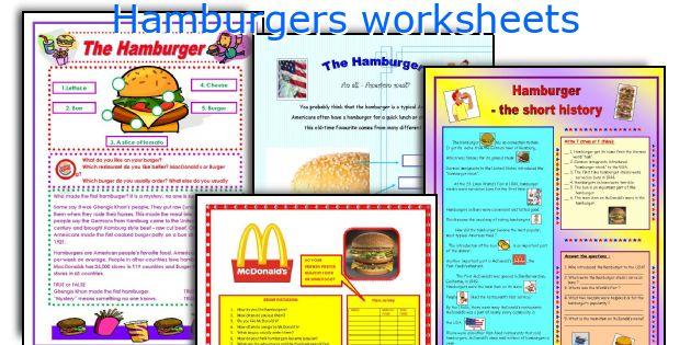 Hamburgers worksheets