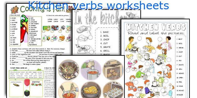 Kitchen verbs worksheets