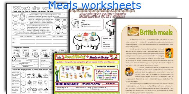 Meals worksheets