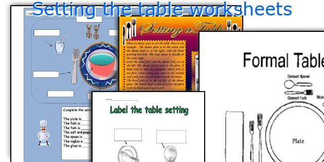 Setting the table worksheets