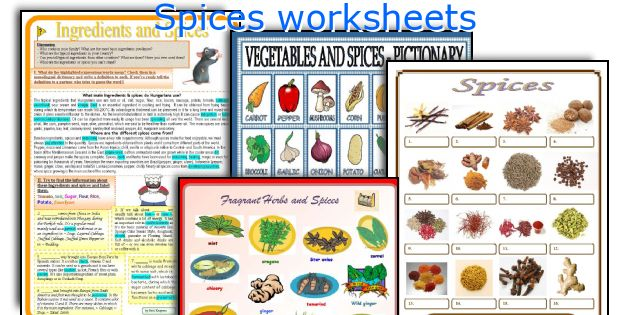 Spices worksheets