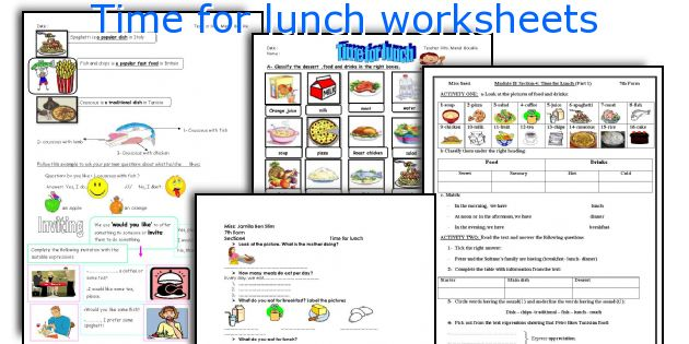 Time for lunch worksheets