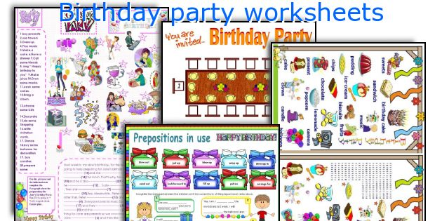Birthday party worksheets