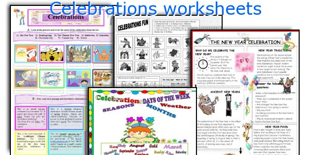 Celebrations worksheets