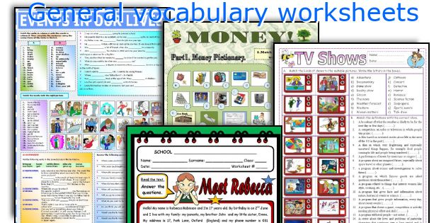 General vocabulary worksheets