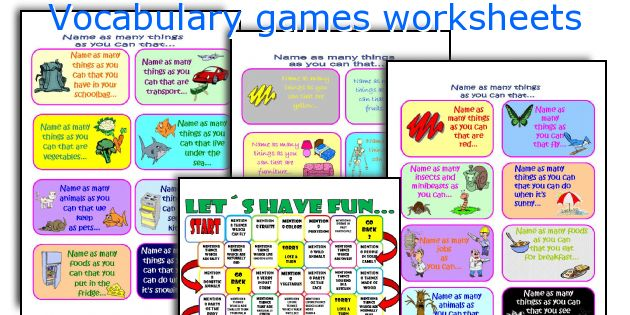 graphic regarding Printable Vocabulary Game named Vocabulary game titles worksheets