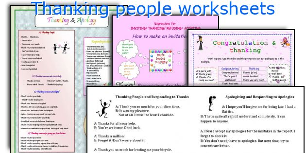 Thanking people worksheets