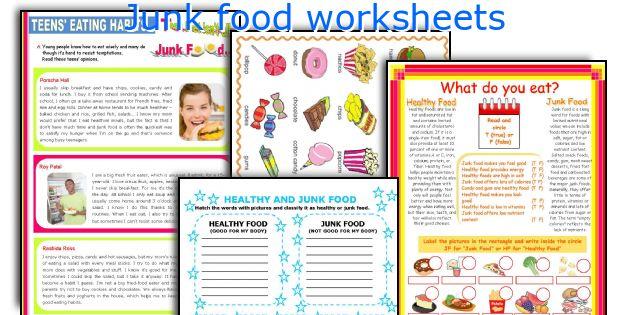 Junk food worksheets