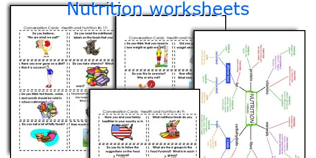 Food groups worksheets middle school