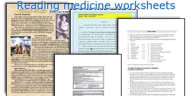 Reading medicine worksheets