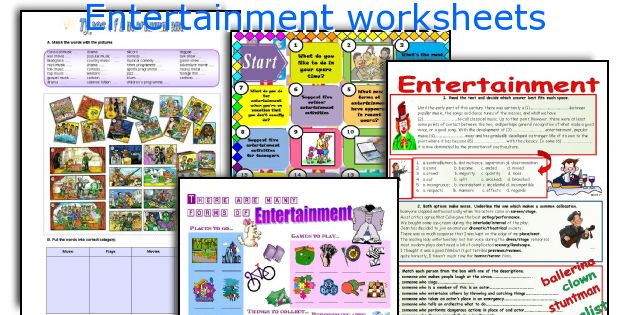 Entertainment worksheets
