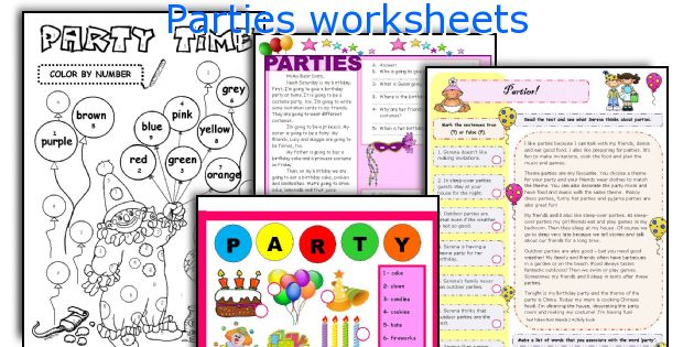 Parties worksheets