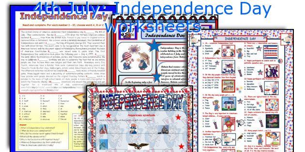 4th July Independence Day Worksheets