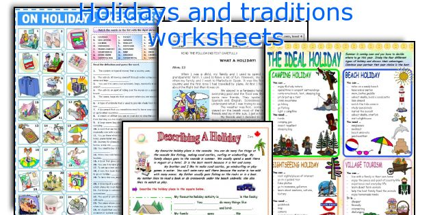Holidays and traditions worksheets