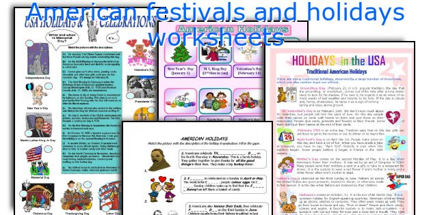 English teaching worksheets: American festivals and holidays