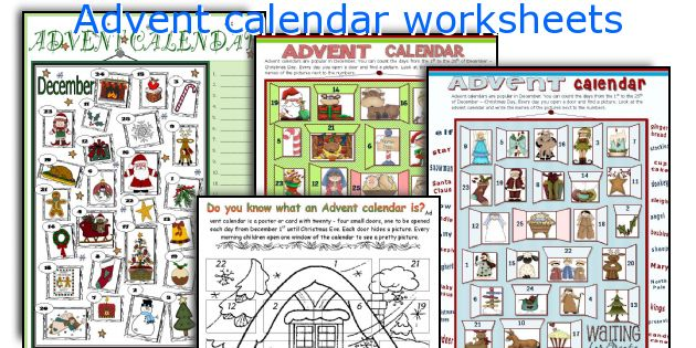Advent calendar worksheets