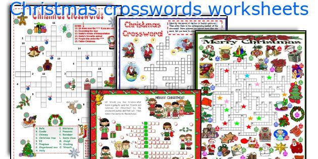 Christmas crosswords worksheets