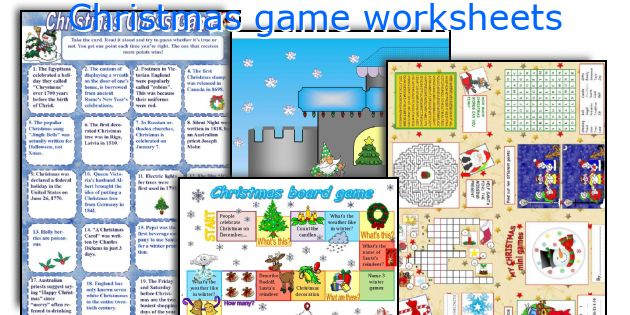 Christmas game worksheets