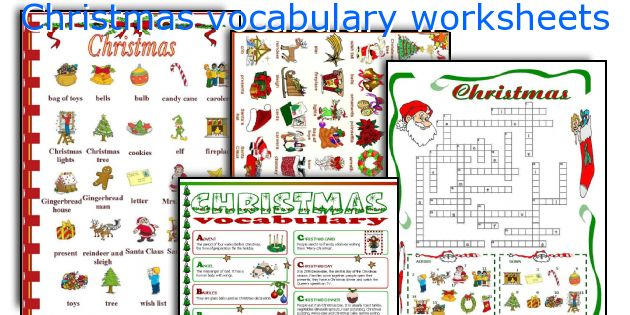 Christmas vocabulary worksheets