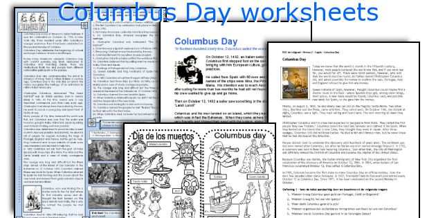 English teaching worksheets Columbus Day – Columbus Day Worksheets