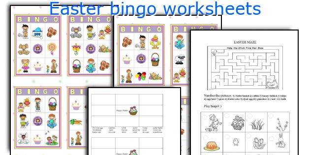 Easter bingo worksheets