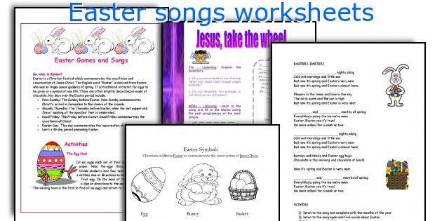 Easter songs worksheets