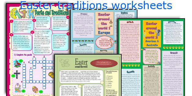 Easter traditions worksheets