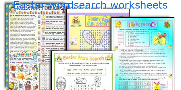 Easter wordsearch worksheets