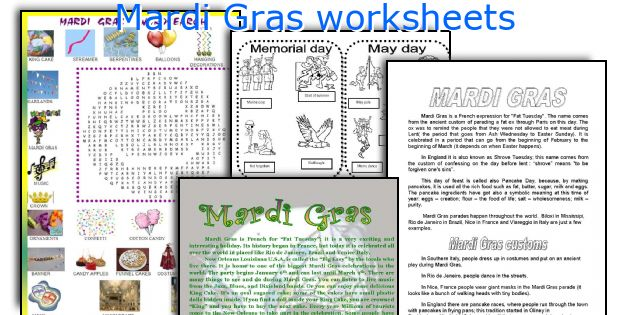English teaching worksheets Mardi Gras – Mardi Gras Worksheets