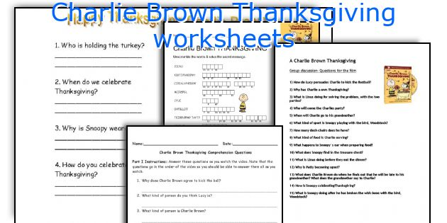 Charlie Brown Thanksgiving worksheets
