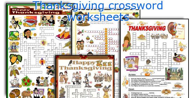 Thanksgiving crossword worksheets