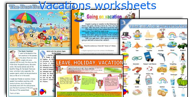 Vacations worksheets