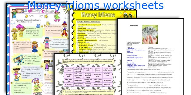 english teaching worksheets money idioms. Black Bedroom Furniture Sets. Home Design Ideas