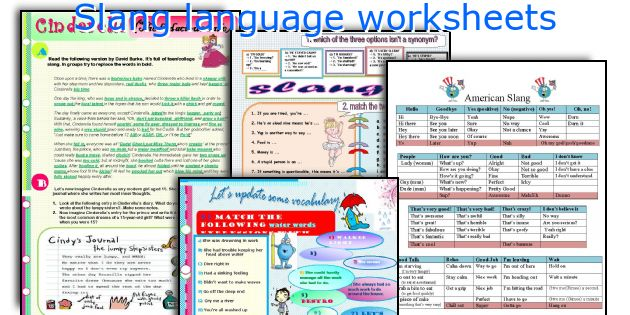Slang language worksheets
