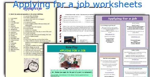 Applying for a job worksheets