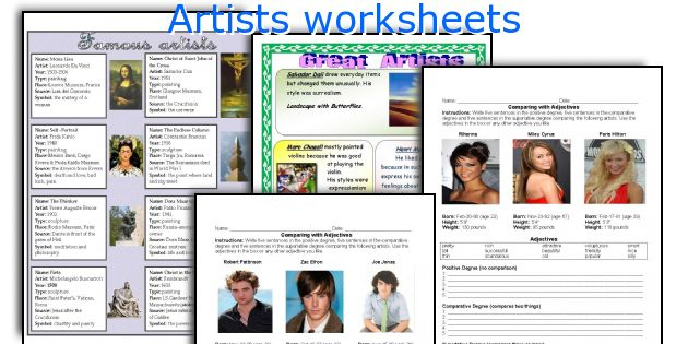 Artists worksheets