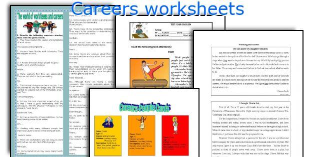 Careers worksheets