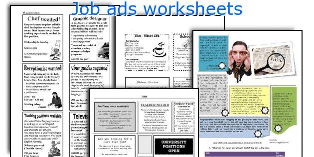 Job ads worksheets