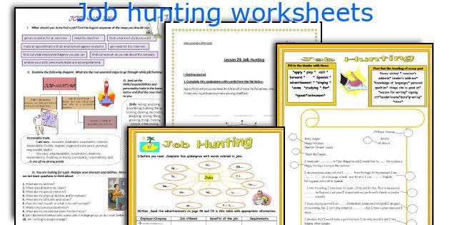 Job hunting worksheets