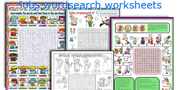 Jobs wordsearch worksheets