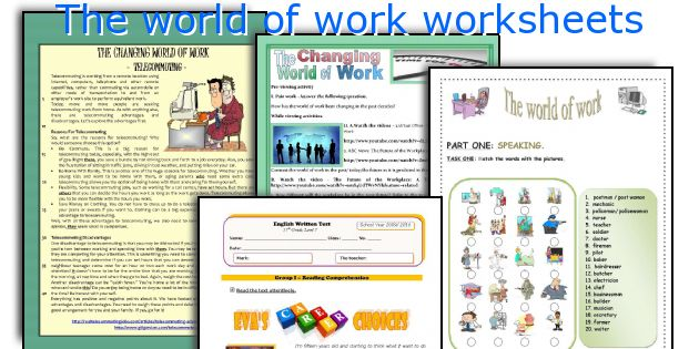 The world of work worksheets