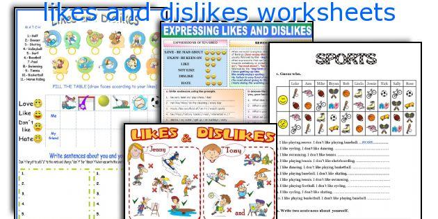 likes and dislikes worksheets
