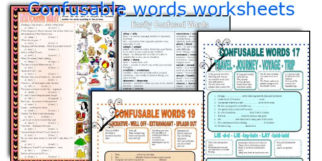 Confusable words worksheets
