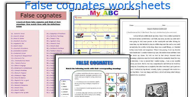 False cognates worksheets