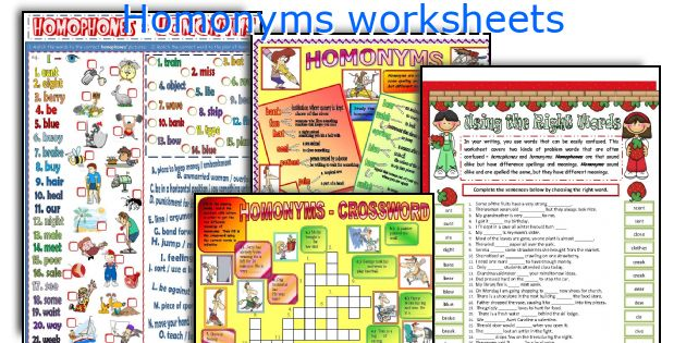 English teaching worksheets Homonyms – Homonyms Worksheets