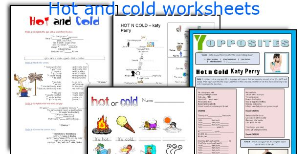 Hot and cold worksheets