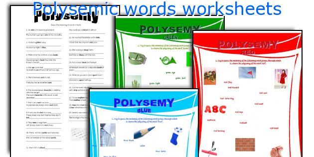 Polysemic words worksheets