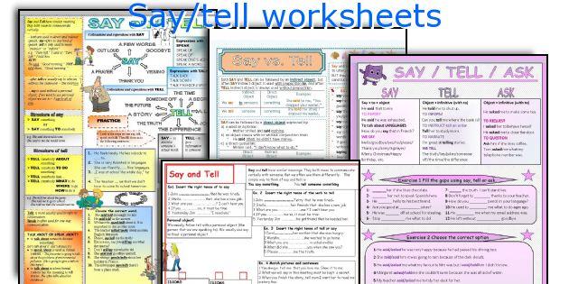 Say/tell worksheets